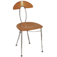 Eros beech back chrome frame chair hire