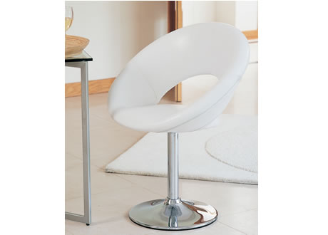Geos Swivel White Leather Sidechair (Faux)