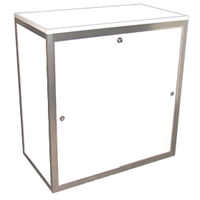 1m High lockable cupboard with shelf hire