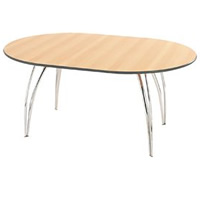 Apollo chrome oval meeting table (seats 4-6) hire