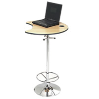 Omega chrome laptop poseur bar table hire