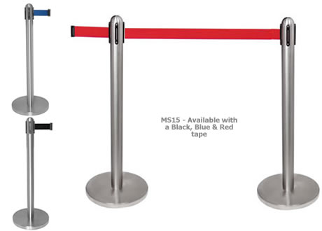 Retractable barrier post - 2m Red Rope
